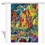 Grand Prix Auto Race Painting Print Shower Curtain