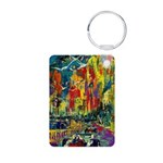 Grand Prix Auto Race Painting Print Keychains
