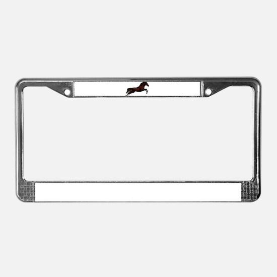 Metallic Jumping Horse License Plate Frame