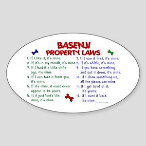 Basenji Property Laws 2 Oval Sticker