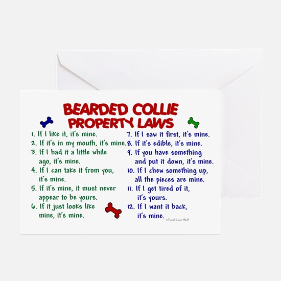 Bearded Collie Property Laws 2 Greeting Cards (Pk