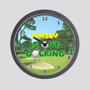 Kinsey is Out Golfing - Wall Clock