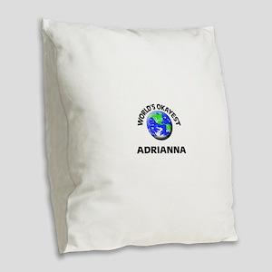 World's Okayest Adrianna Burlap Throw Pillow