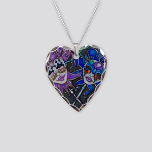 Comedy/Tragedy Jester Masks Necklace Heart Charm