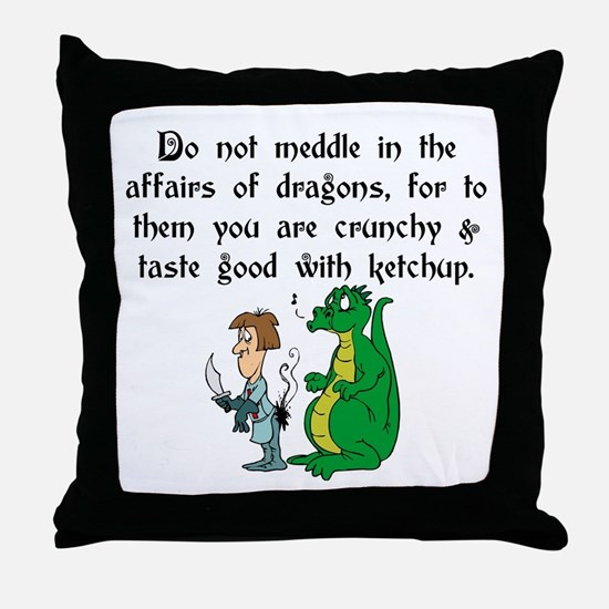 The Affairs of Dragons Throw Pillow