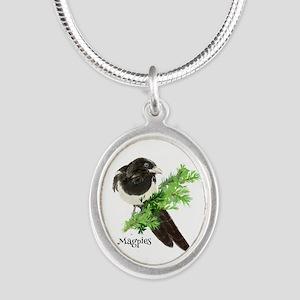 Curious watercolor Magpie Bird Nature Ar Necklaces