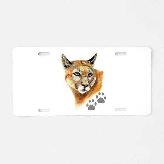 Watercolor Mountain Lion Co Aluminum License Plate