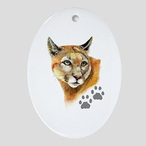 Watercolor Mountain Lion Cougar, Pum Oval Ornament