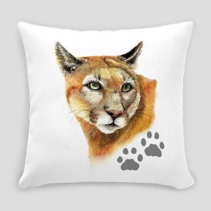 Watercolor Mountain Lion Cougar, P Everyday Pillow