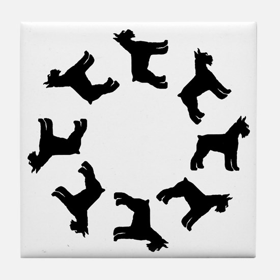 Schnauzer Circle Tile Coaster