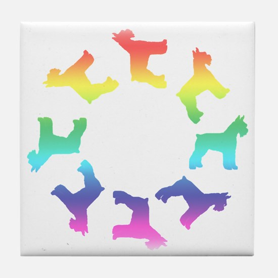 Rainbow Schnauzer Circle Tile Coaster
