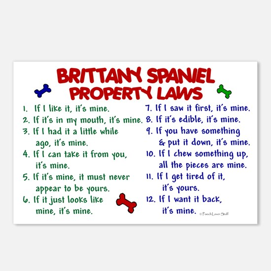 Brittany Spaniel Property Laws 2 Postcards (Packag