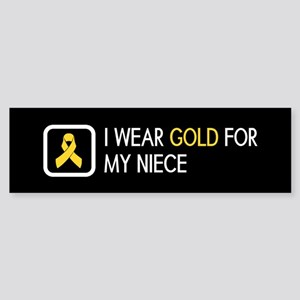 Childhood Cancer: Gold For My Nie Sticker (Bumper)