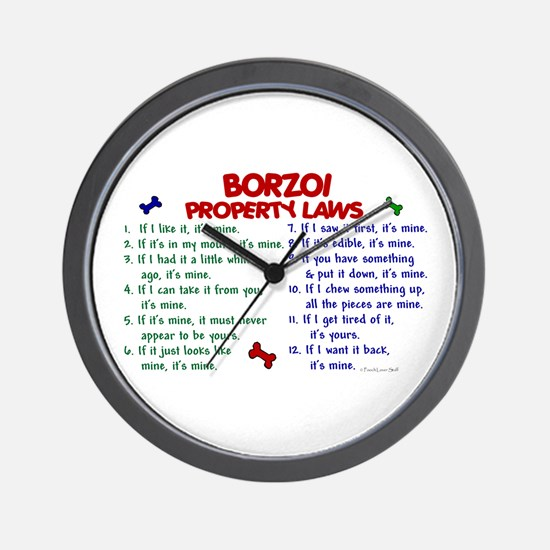 Borzoi Property Laws 2 Wall Clock