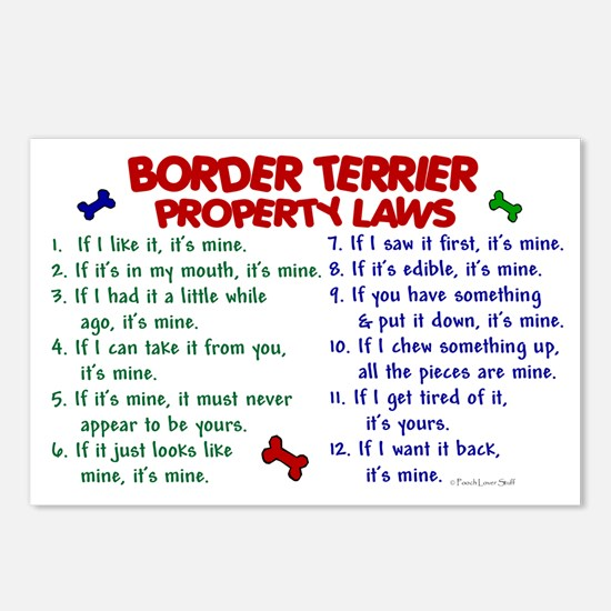 Border Terrier Property Laws 2 Postcards (Package