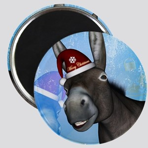 Funny christmas donkey with christmas hat Magnets