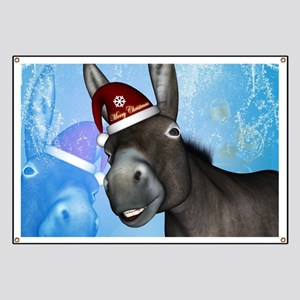 Funny christmas donkey with christmas hat Banner