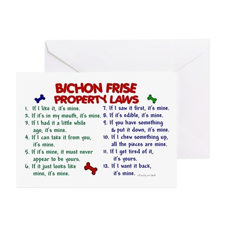 Bichon Frise Property Laws 2 Greeting Cards (Pk of