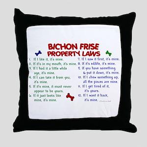 Bichon Frise Property Laws 2 Throw Pillow