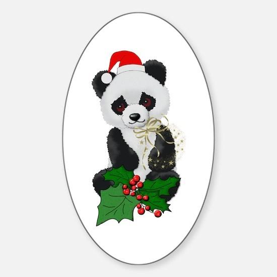 Christmas Panda Oval Decal