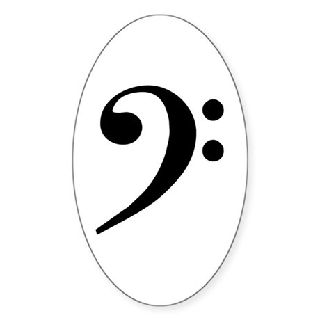 Basic Black Bass Clef Oval Sticker