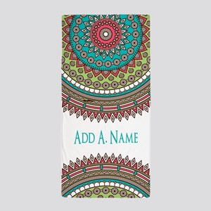 Personalized Monogram Name Boho Beach Towel