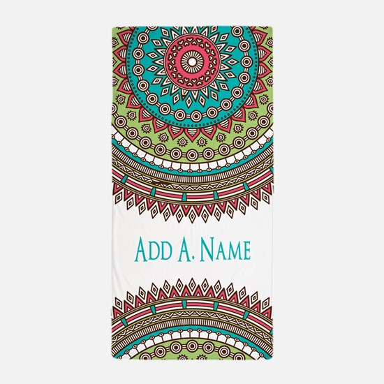 Personalized Monogram Name Boho Beach Towel