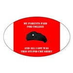 Stupid Che Shirt Oval Sticker