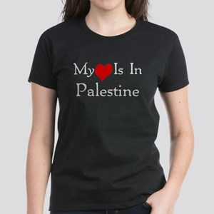 My Heart Is In Palestine Women's Dark T-Shirt