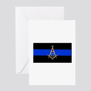 Masons Thin Blue Line Greeting Cards