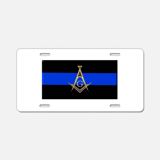 Masons Thin Blue Line Aluminum License Plate