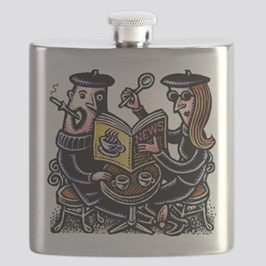 Hipster Cafe Couple Flask