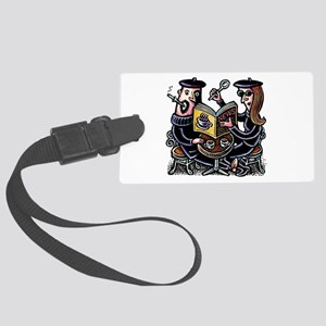Hipster Cafe Couple Large Luggage Tag