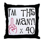 40th Birthday Middle Finger Salute! Throw Pillow