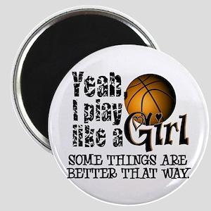 Play Like a Girl - Basketball Magnet