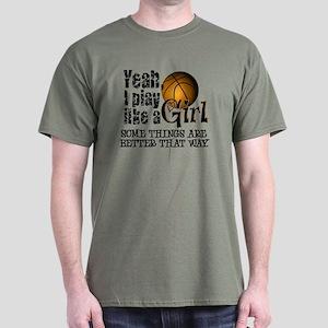 Play Like a Girl - Basketball Dark T-Shirt