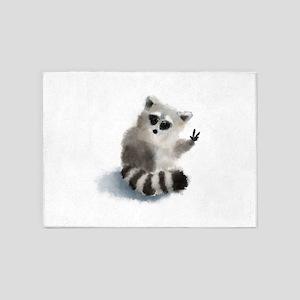 Raccoon says hello! 5'x7'Area Rug