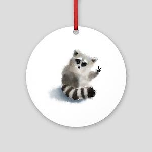 Raccoon says hello! Round Ornament