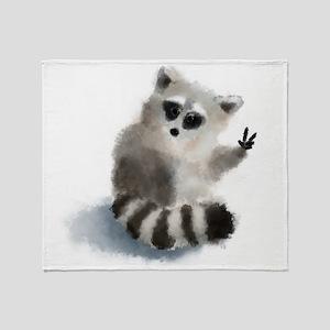 Raccoon says hello! Throw Blanket