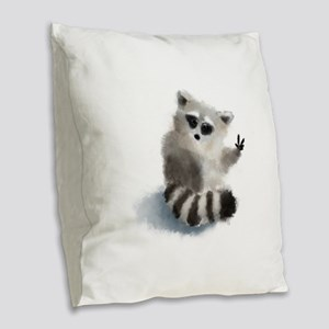 Raccoon says hello! Burlap Throw Pillow