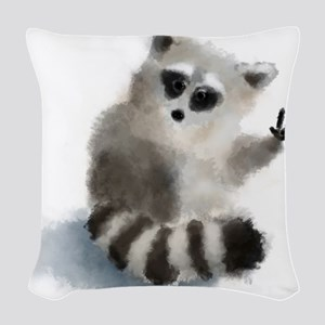 Raccoon says hello! Woven Throw Pillow