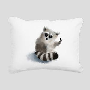 Raccoon says hello! Rectangular Canvas Pillow