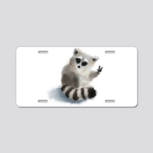 Raccoon says hello! Aluminum License Plate