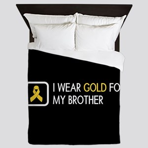 Childhood Cancer: Gold For My Brother Queen Duvet