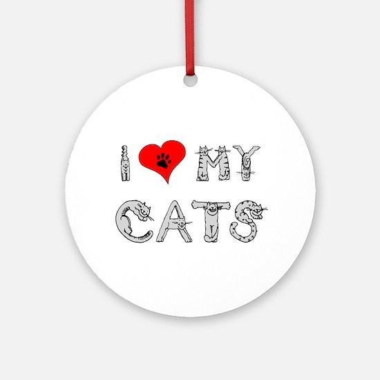 I love my cats / heart Ornament (Round)