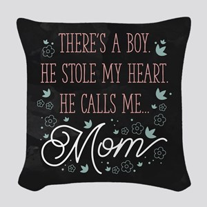 He Calls Me Mom Woven Throw Pillow