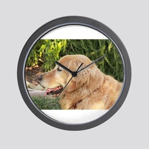 Nala golden retriever profile close up Wall Clock