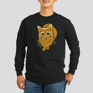 Orange Cat Long Sleeve Dark T-Shirt