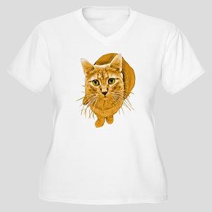 Orange Cat Women's Plus Size V-Neck T-Shirt