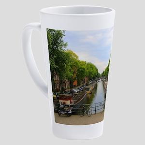 Canal, bridges, bikes, boats, Amst 17 oz Latte Mug